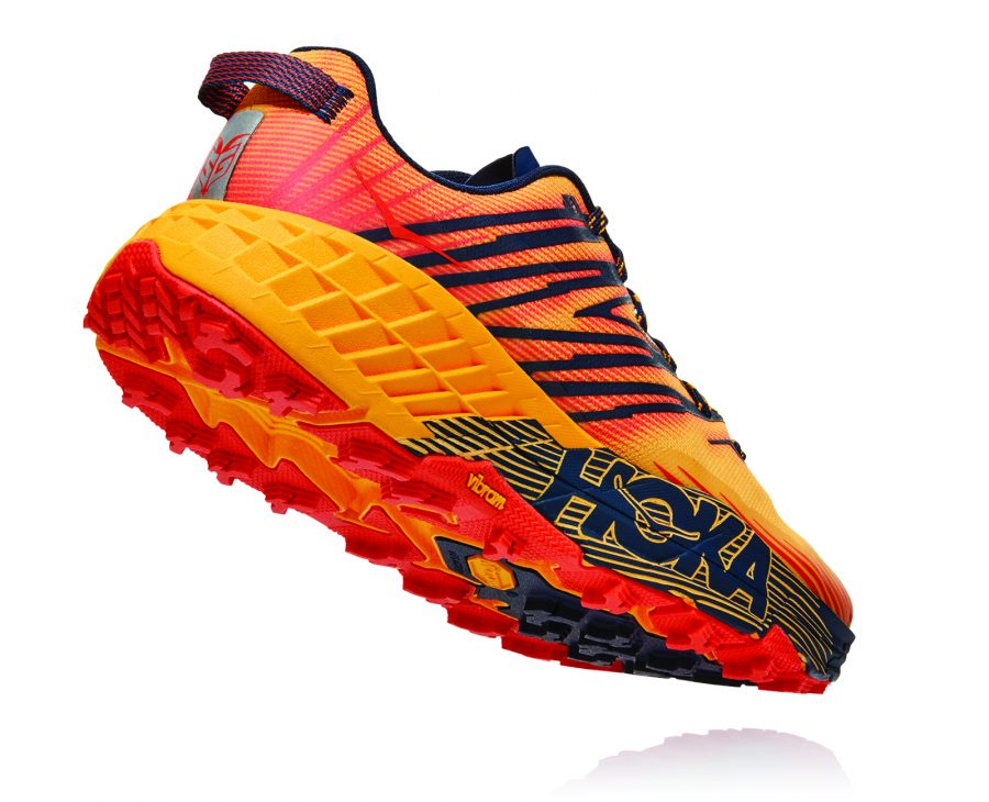 The rockered outsole of the Speedgoat 4 trail running shoe.